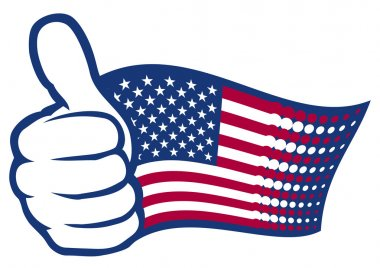 USA flag (United States of America). Hand showing thumbs up.