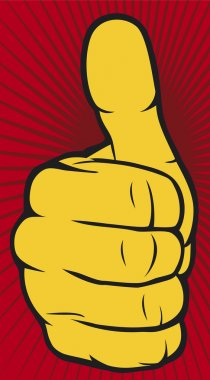 Vector hand showing yellow thumbs up on red background stock vector