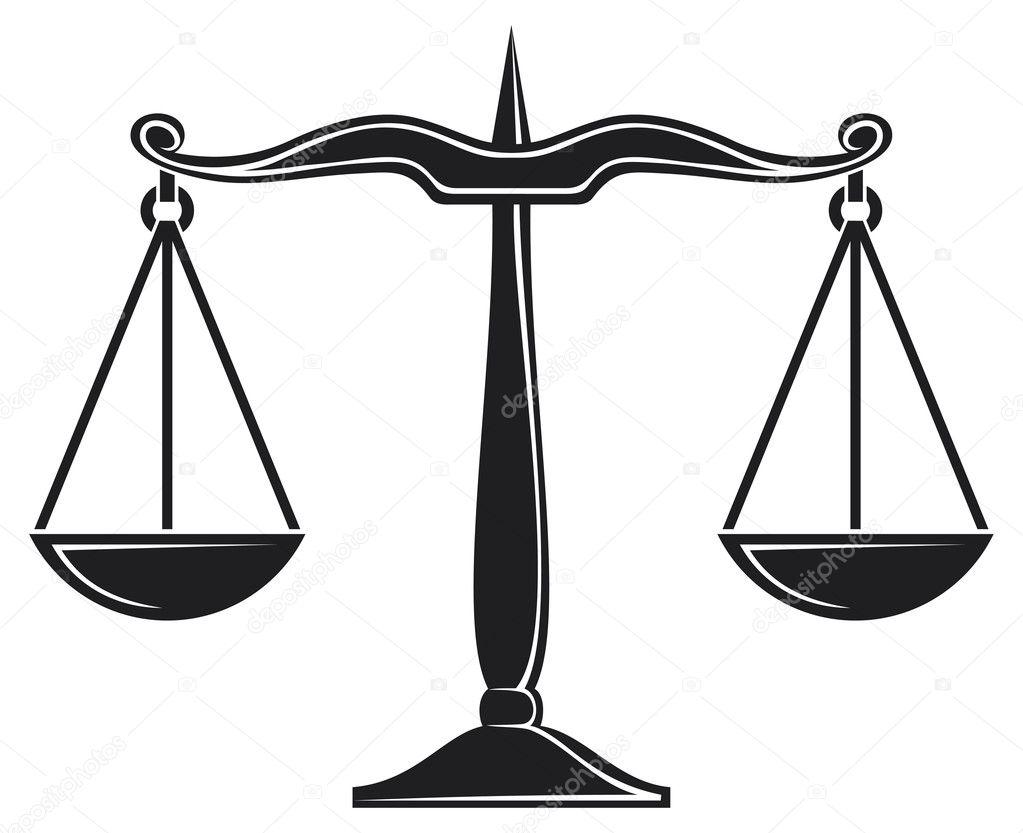 Bilancia Della Giustizia Simbolo Vettoriali Stock
