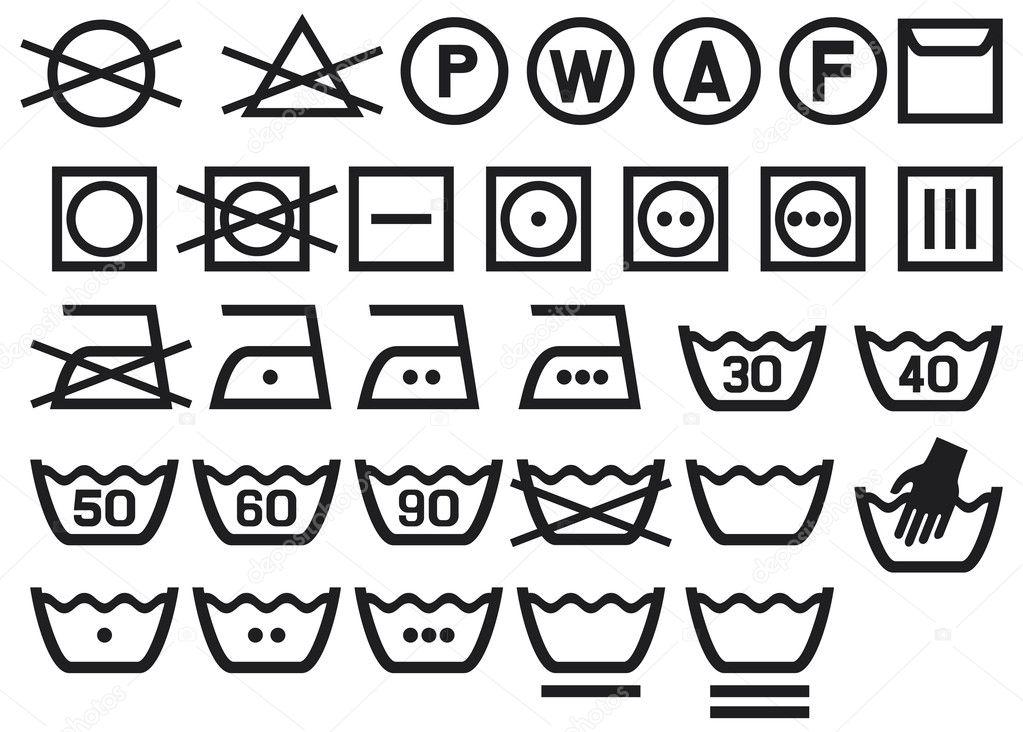satz von waschmaschine symbole — stockvektor #12801021 ~ Waschmaschine Symbole Bedeutung