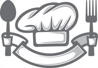 Chef hat, fork and spoon