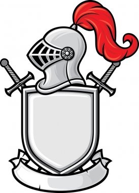 Medieval knight helmet, shield, crossed swords and banner - coat of arms