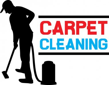 Man and a carpet cleaning machine