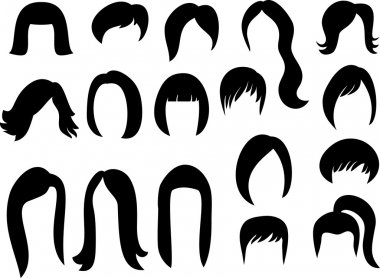 Big set of black hair styling for woman