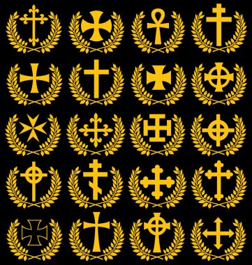 Big collection of vector isolated crosses (crosses with a laurel wreath)