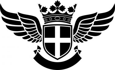 Coat of arms - shield, crown and wings tattoo