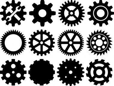Gear collection machine gear (wheel cogwheel, set of gear wheels, collection of gear) stock vector