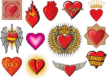Heart collection (hearts set, flaming heart, heart in flame, heart with wings, broken heart, colorful heart with ornamental pattern, just married heart design, sword and heart, heart beats) clip art vector