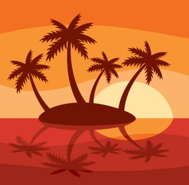 Illustration of tropical island with four palms