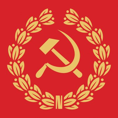 Symbol of USSR - hammer, sickle and laurel wreath