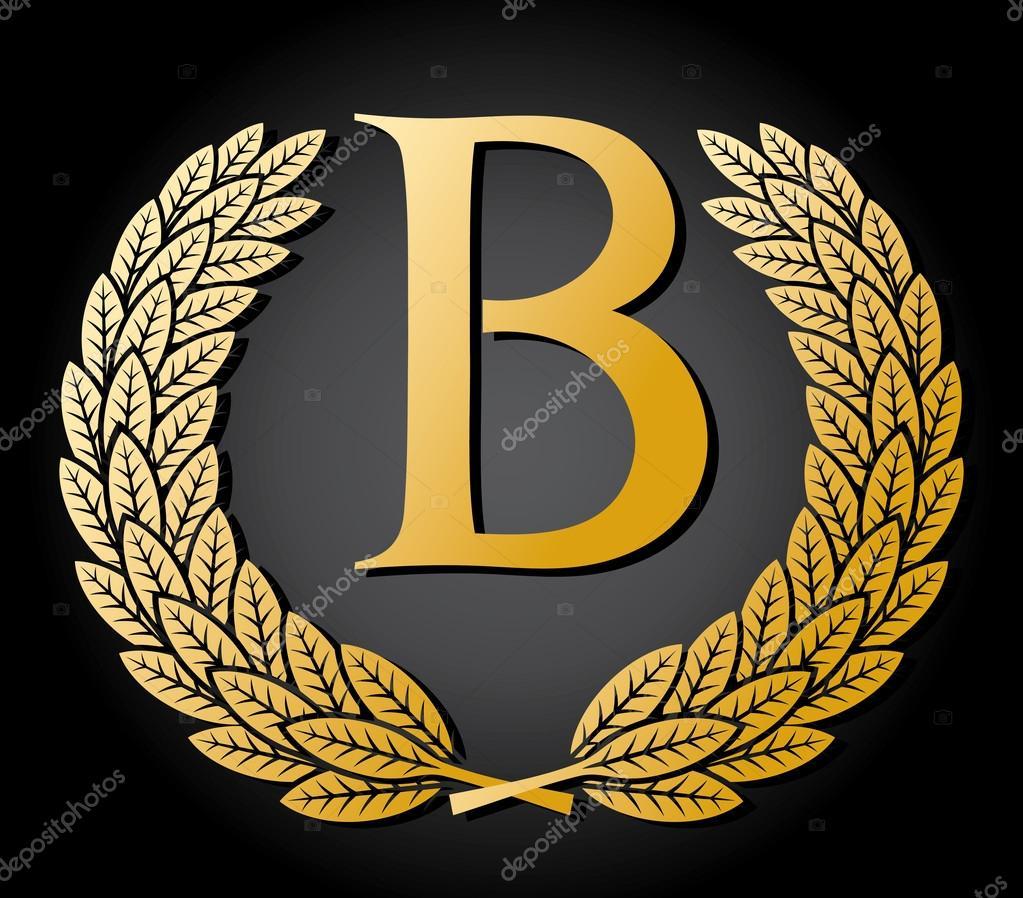 Letra B E A Coroa De Louros Do Ouro Vetor De Stock