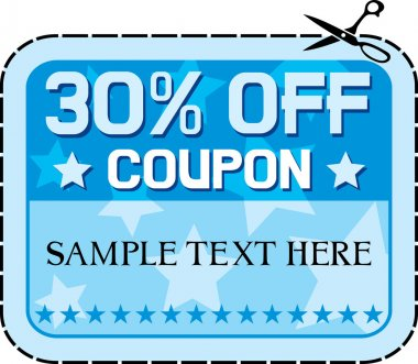 Coupon sale 30 thirty percent discount, discount label