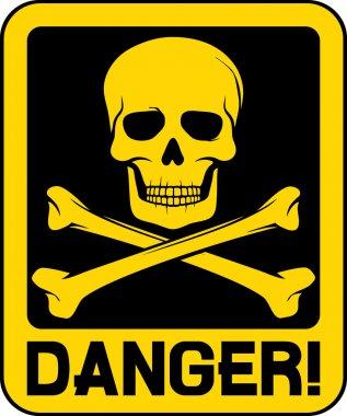 Vector danger sign with skull symbol stock vector