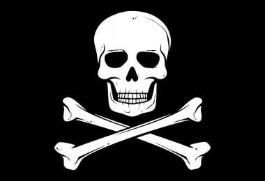 Pirate vector flag (jolly roger pirate flag with skull and cross bones)