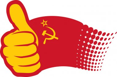 USSR flag. Hand showing thumbs up.