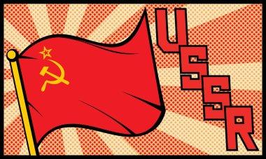 Ussr flag in pop art style