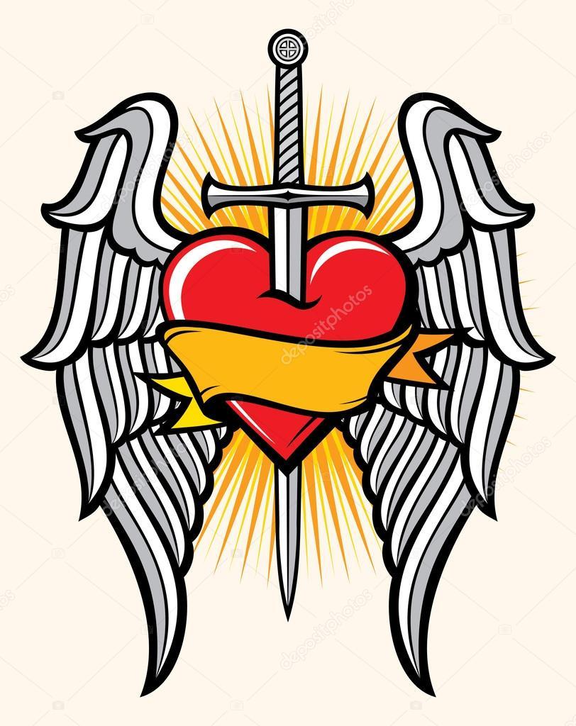 Corazón Espada Y Alas Archivo Imágenes Vectoriales