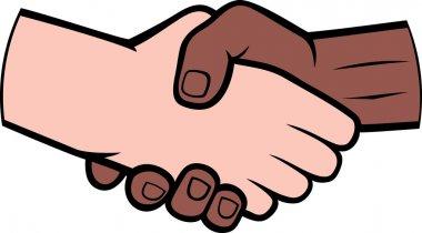 Hand shake between black and white man