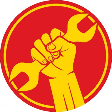 Worker sign (fist and wrench)