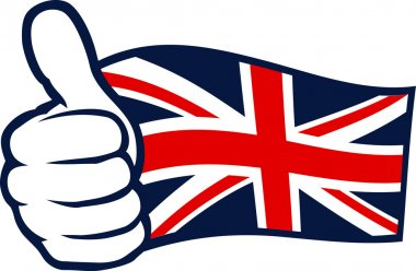 United Kingdom flag (Flag of United Kingdom of Great Britain and Northern Ireland, UK flag). Hand showing thumbs up.
