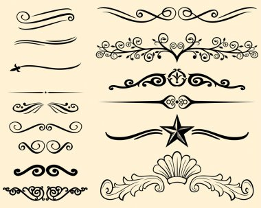 Vector set of decorative elements (decorative lines) stock vector