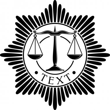 Scales of justice symbol (scales of justice seal, scales of justice order, scales of justice medal)