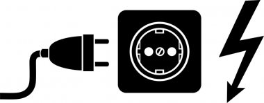 Plug and socket, lightning icon