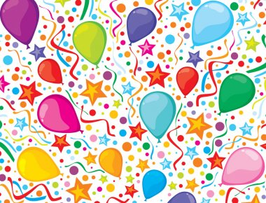 Birthday background with party streamers and confetti
