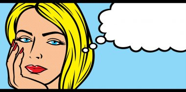 Woman face with speech bubble
