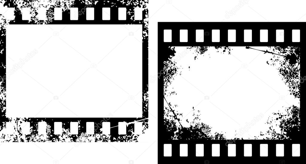 Grunge film frames (photo frames, grunge filmstrip) — Vector de ...