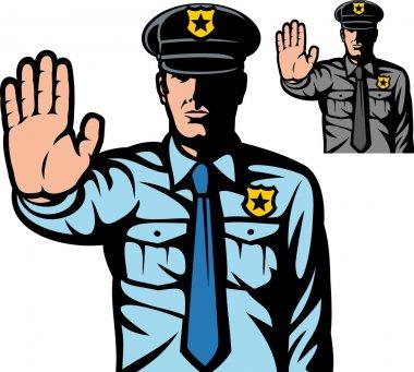 Police man gesturing stop