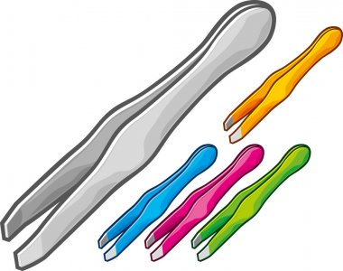 Set of steel tweezers