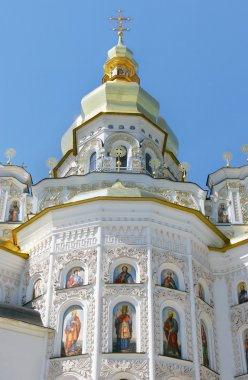 orthodox church over blue sky background
