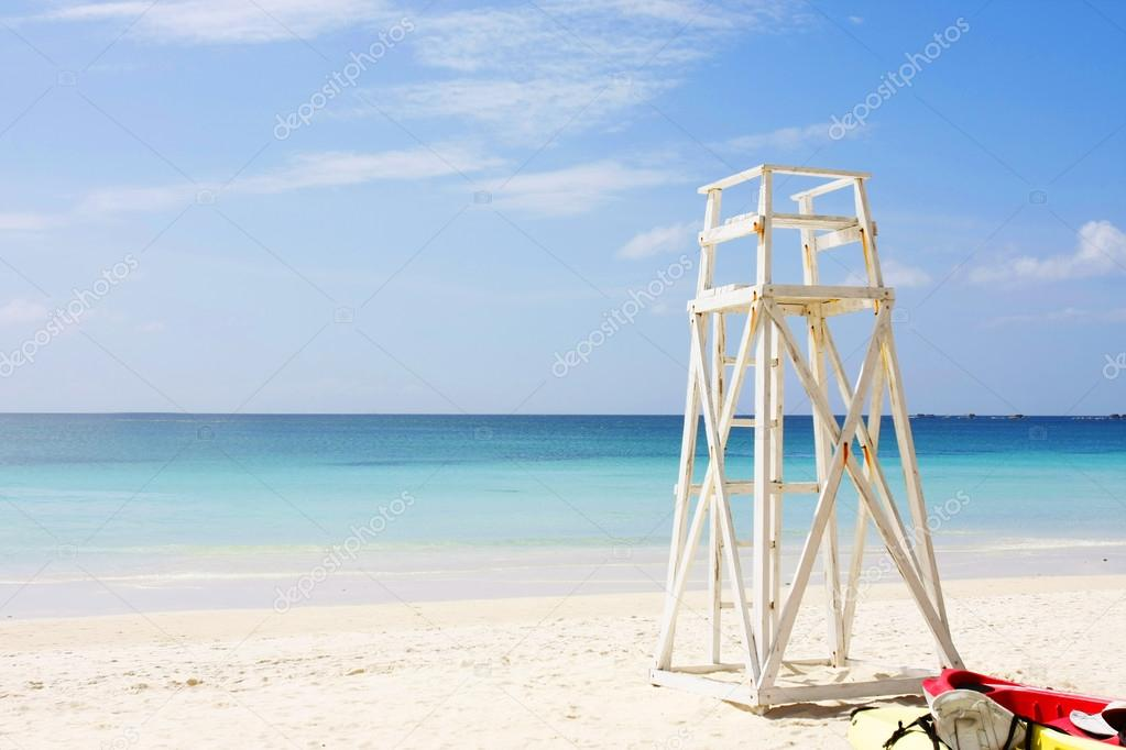 lifeguards place at tropical beach