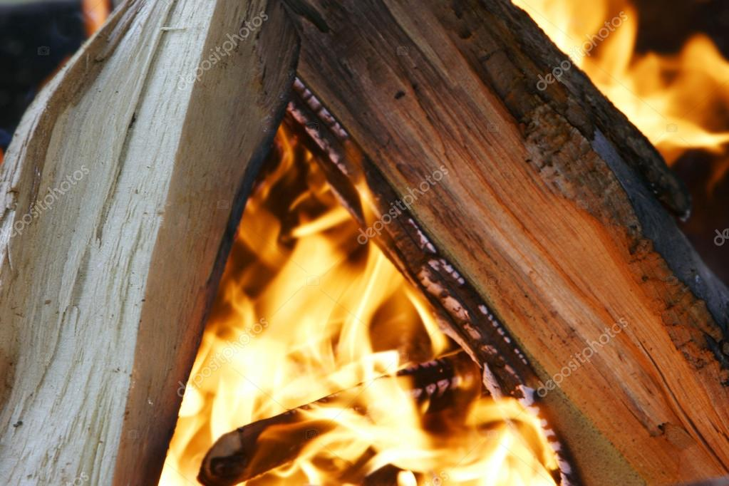 burning woods in fireplace