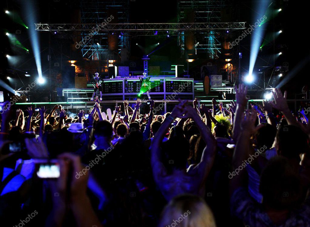 dancing in outdoor nightclub