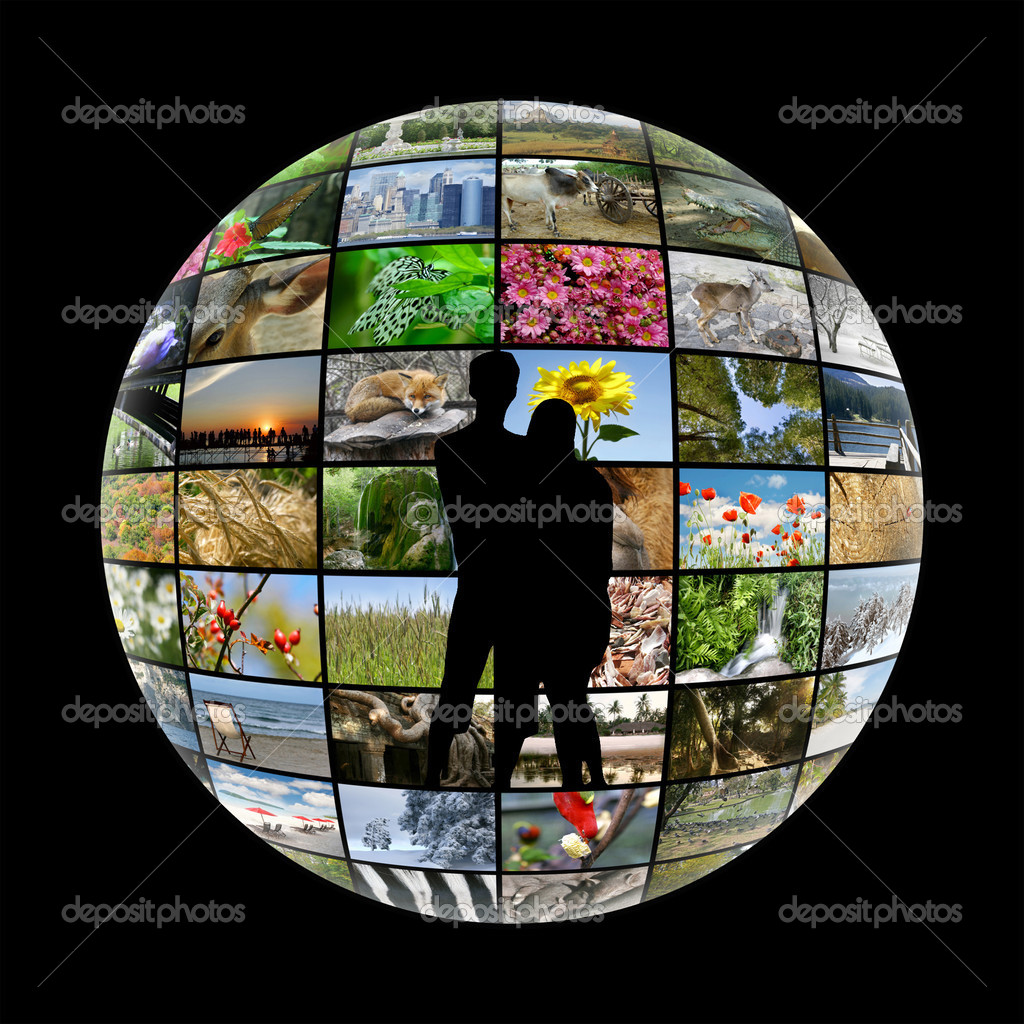 silhouette of young couple on media sphere background