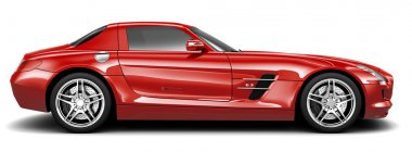 Luxury red sport coupe - side view
