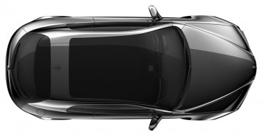 Black coupe - top view