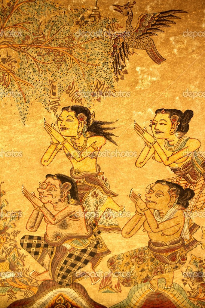 Traditional Indonesian Gilded Wayang Paintings in the Palace of ...
