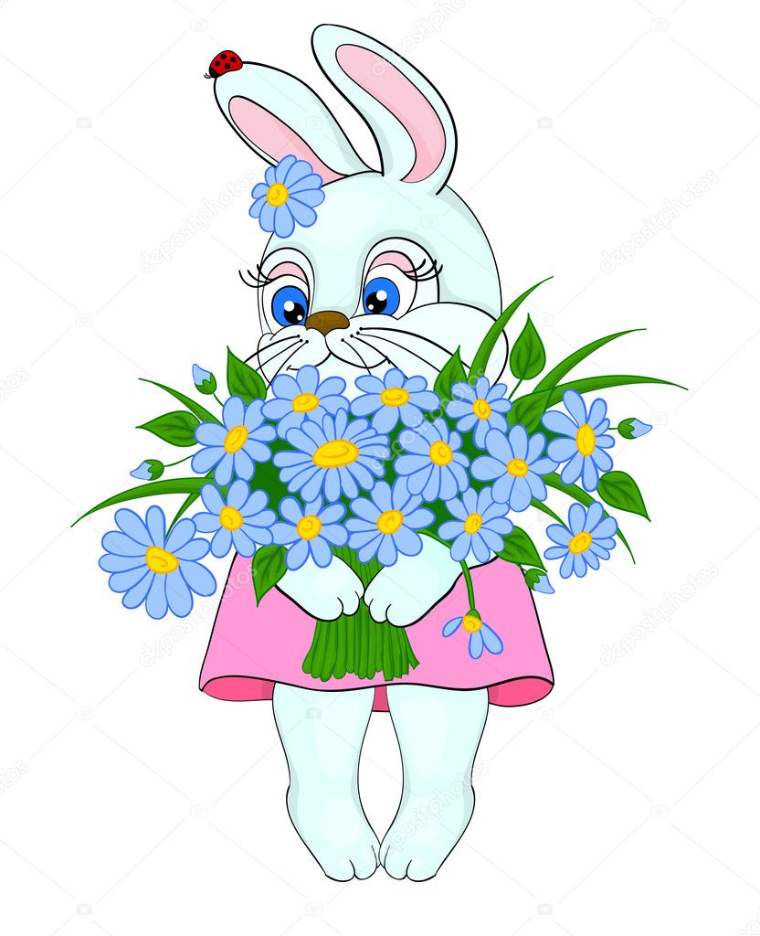 Cartoon bunny with a big bouquet of flowers daisies stock vector cartoon bunny with a big bouquet of flowers daisies stock vector izmirmasajfo Choice Image