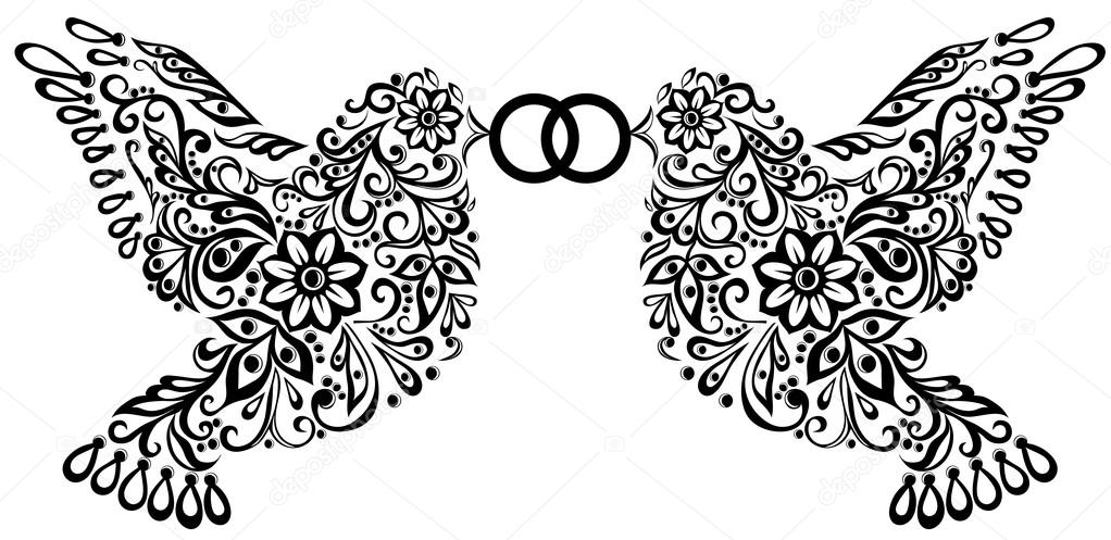 Wedding Clipart Black And White.Clipart Wedding Birds Wedding Clipart Silhouette Of Two Birds