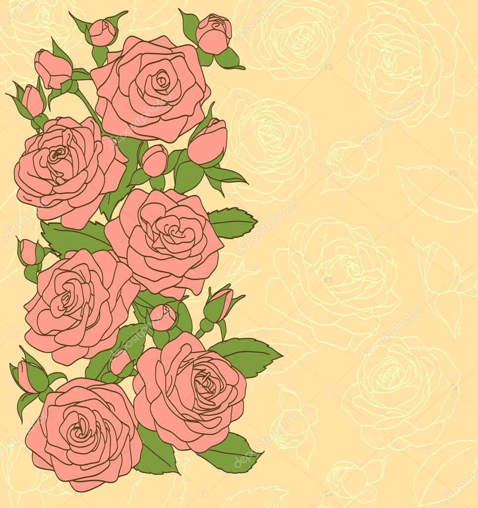 Fiori Foglie E Boccioli Di Rose Rosa Dipinti In Stile Antico
