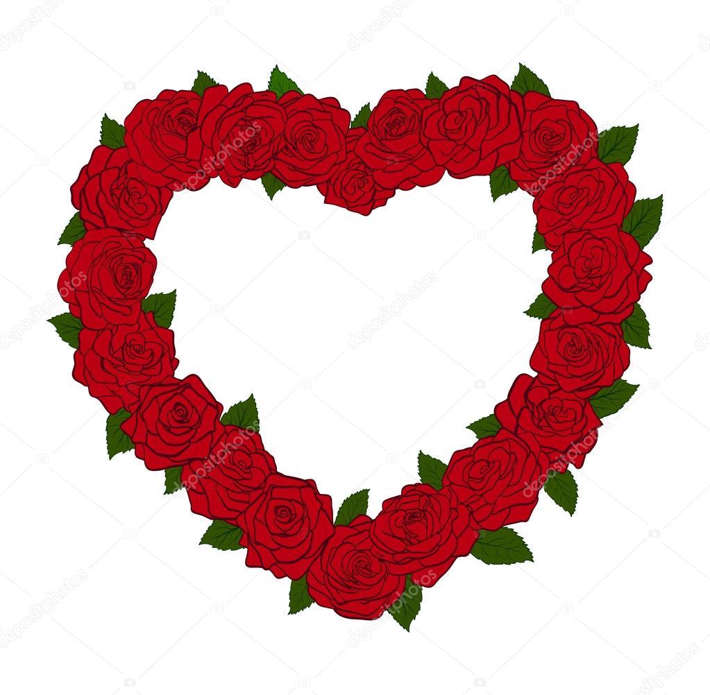 el marco en forma de una silueta del corazón, bordeado con hojas y ...