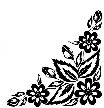 abstract black and white floral arrangement in the form of border angle. Isolated on white background