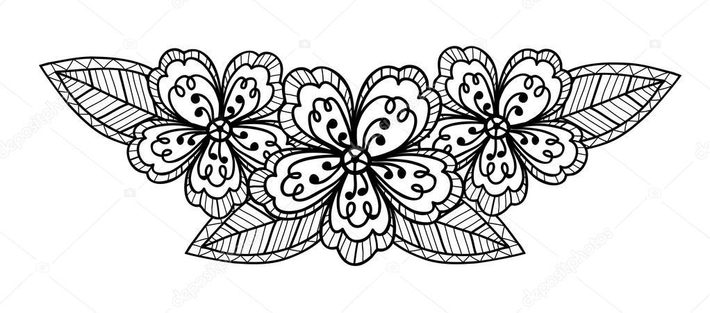 fleur en noir et blanc, dessin de main — image vectorielle #19945985