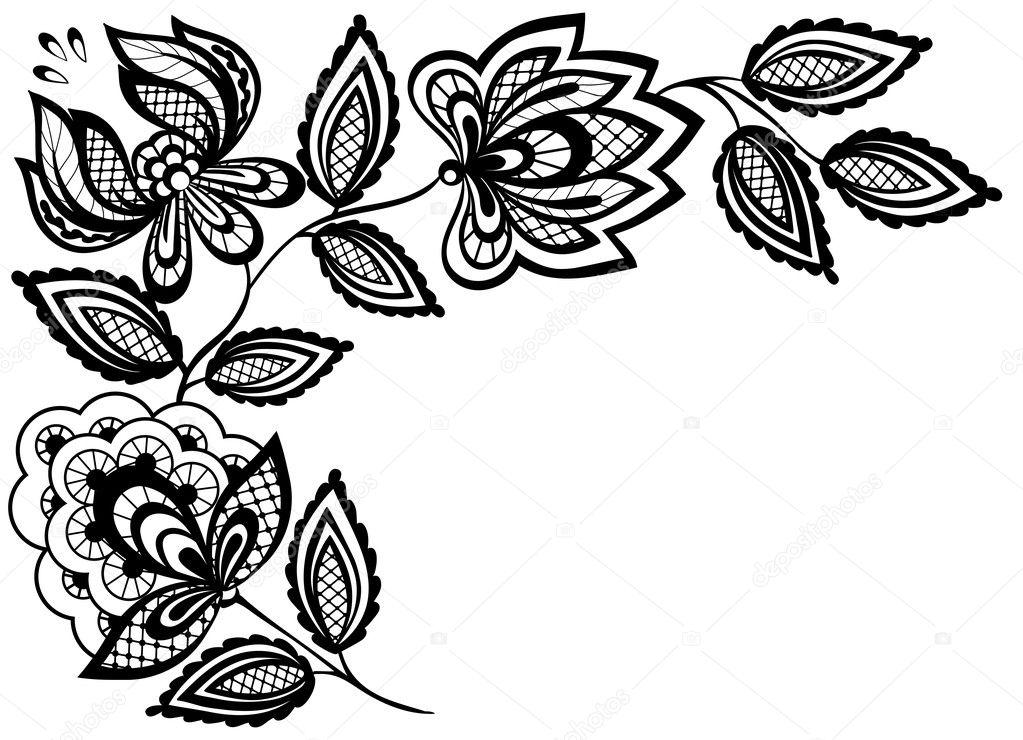 Schwarze und weiße Spitze Blumen und Blätter, die isoliert auf weiss ...