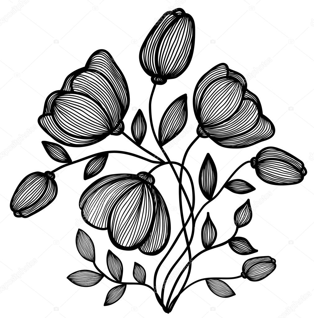 Черно белая картинка цветок