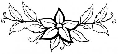 Beautiful black and white abstract flower. With leaves and flourishes. Isolated on white