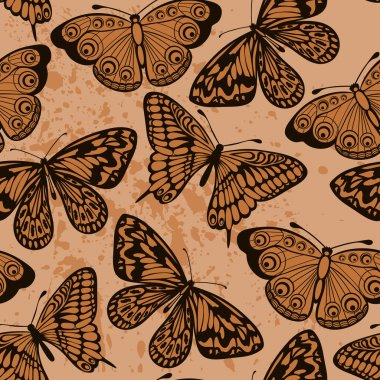 Beautiful seamless background. Butterflies on old dirty paper. Vintage style.